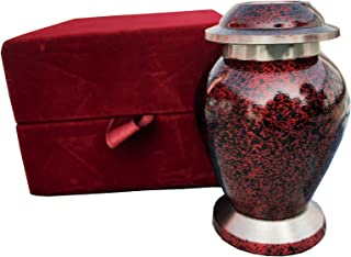 Beautiful Shade of Mini Keepsake - Keepsake Urn - Token Urns -Forever in Our Hearts Classic Keepsake Urns/Keepsake Cremation Urns/ Handcrafted & Affordable Mini Urn for Ashes with Velvet Bag (RED)