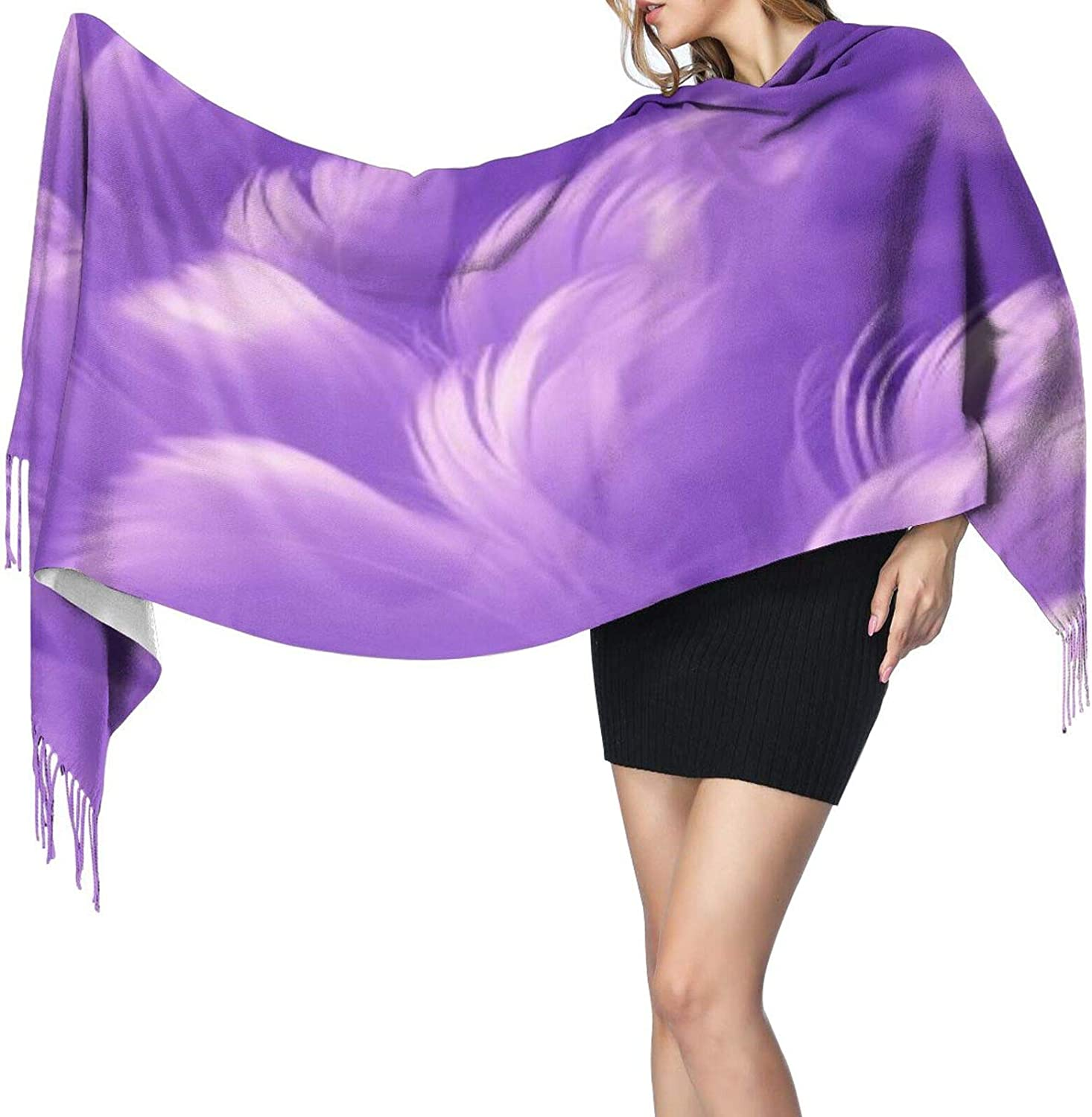 Cashmere fringed scarf Ultra Violet Feathers winter extra large scarf
