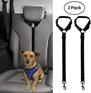 BWOGUE 2 Packs Dog Cat Safety Seat Belt Strap Car Headrest Restraint Adjustable Nylon..