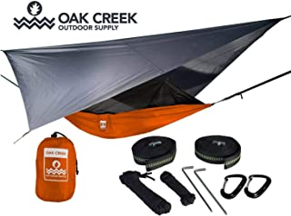 Lost Valley Camping Hammock Bundle (Orange) Includes Single Hammock, Mosquito Net, Rain Fly, Tree Straps in a Lightweight Compression Sack. Weighs Only 4 Pounds, Perfect for Hammock Camping.