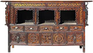 Chinese Vintage Relief Carving Long Shine Altar Table Cabinet Amh291
