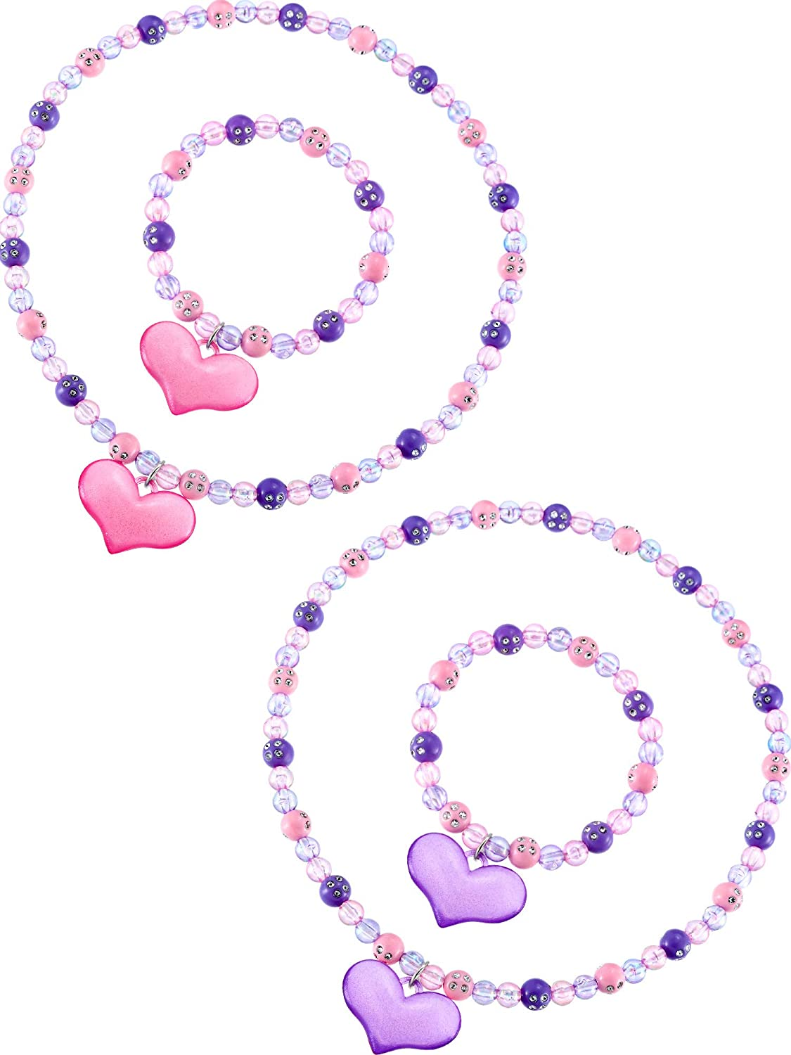 Zhanmai Necklace Bracelet Jewelry Set Boys Girls Lovely Princess Heart Shape Beads Necklace Set for Dress Up Jewelry Party (Sweet Style): Toys & Games