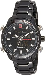Naviforce Men's Black Dial Genuine Leather Analogue Classic Watch - NF9093-BBW