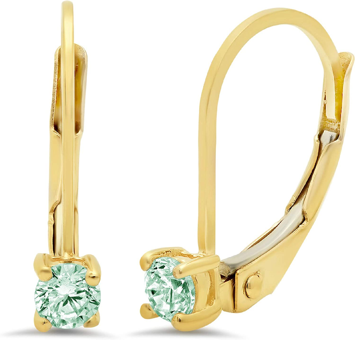 0.4ct Round Cut Solitaire Turquoise Green Simulated Diamond CZ Unisex Lever back Drop Dangle Earrings Solid 14k Yellow Gold conflict free Jewelry