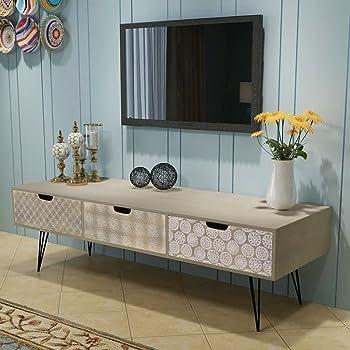 UnfadeMemory Mueble para TV,Mesa para TV,Decoración de Hogar,Diseño Rústico,con 6 Cajones de Diferentes Diseños y Colores,Madera Maciza de Pino,130x30x40cm: Amazon.es: Hogar