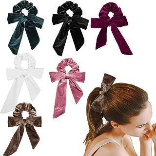 Jaciya Bow Velvet Scrunchies for Hair, Ponytail Holder Hair Scarf Thick Hair Ties, Hair Scrunchies for Women Velvet Scrunchies with Bow, Velvet Bow Scrunchies for Hair 6 Pack 6 Colors