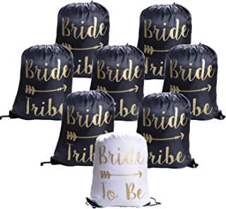 eborder 8 Pieces Bride and Bride Tribe Drawstring Bags Bridesmaid Wedding Drawstring Gift Bags for Bridal Party Supplies, 16.5 x 13.4 inch (Black)