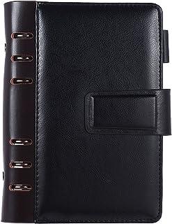 Docooler1 Writing Notebook, A6 Pu Loose-Leaf Spiral Notebook Binder Business Planner Dairy Agenda Vintage Office Stationer...