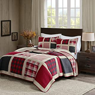3 Piece Black Tan Red Plaid Quilt Full Queen Set, Cabin Themed Bedding Tartan Checked Pattern Checkered Lodge Southwest Western Colors Lumberjack Square Patch, Cotton