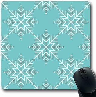 Alfombrilla de ratón Oblong Frozen Blue Pattern Copos de nieve Vacaciones de invierno Navidad con hielo