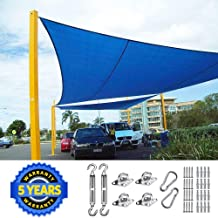Quictent 24X24FT 185G HDPE Square Sun Shade Sail Canopy 98% UV Block Outdoor Patio Garden with Free Hardware Kit (Blue)