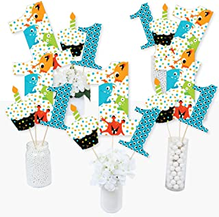 1st Birthday Monster Bash - Little Monster First Birthday Party Centerpiece Sticks - Table Toppers - Set of 15