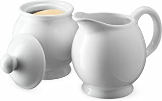 KooK Sugar and Creamer Set, Ceramic Make, White