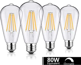 GEZEE 8W Dimmable LED Edison Vintage Style Filament Light Bulb, 80W Equivalent,800Lumen 2700K Warm White, E26 Medium Base for Home Drawingroom Bedroom (4 Pack)