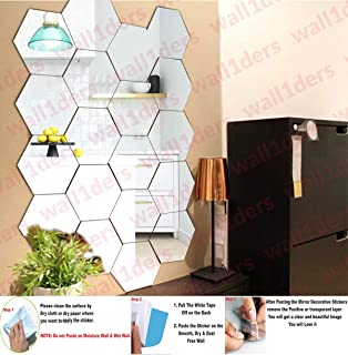 Wall1ders - 20 Hexagon with 10 Butterfly Silver (Size 10.5 x 12.1 cm) 3D Acrylic Stickers, 3D Acrylic Mirror Wall Stickers...