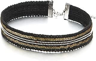 Rock Punk Womens Black Braided Choker Necklace with Ball Chain and Gold Color Sequins
