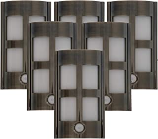 Capstone Motion Activated LED Plugin Night Light – with Automatic Dusk to Dawn Sensor, Decorative Sconce Lights Up Your Home – Covers Unused Outlet Plugs - Modern Glass, Satin Nickel (Pack of 6)