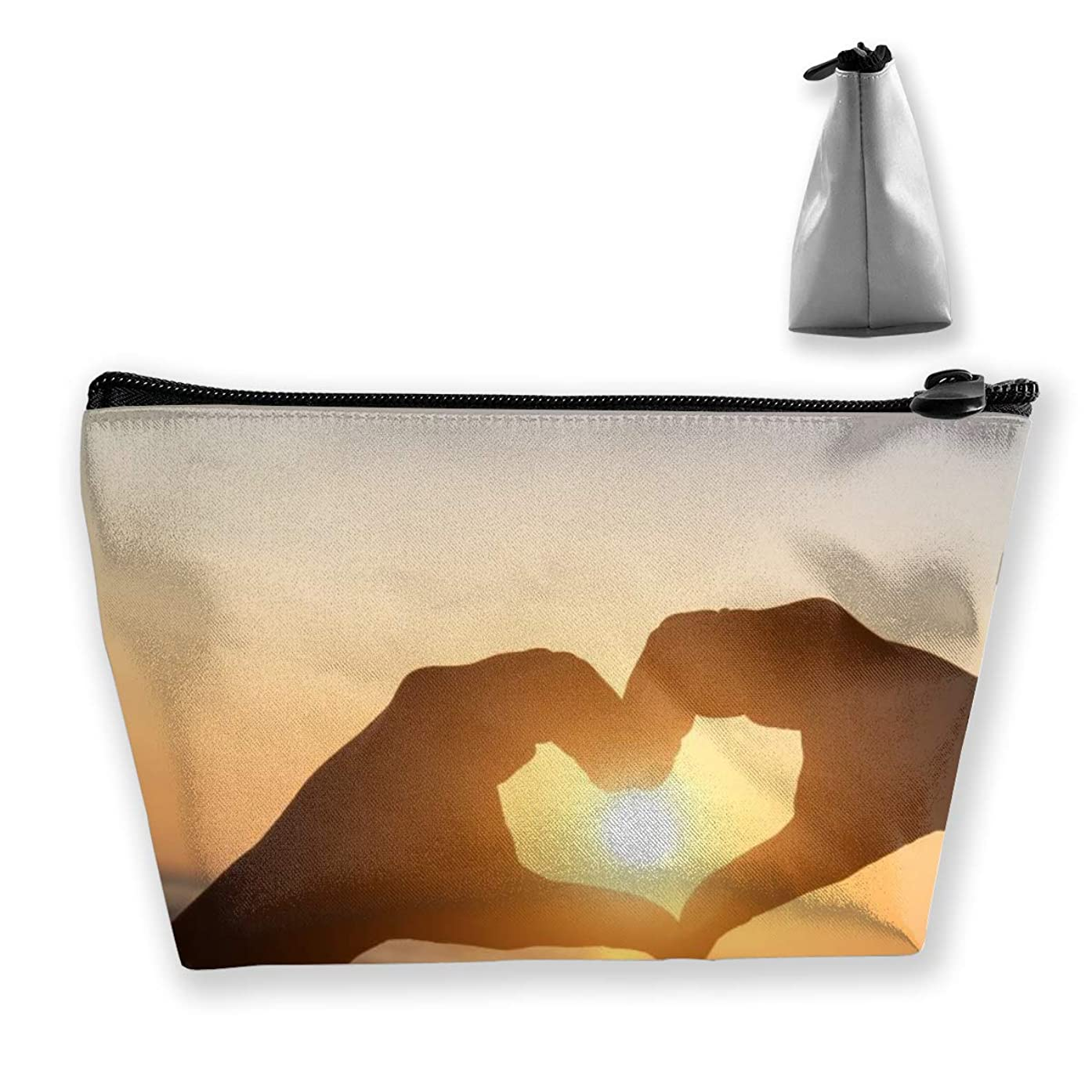 RobotDayUpUP Heart Sun Hands Silhouette Womens Travel Cosmetic Bag Portable Toiletry Brush Storage Multifunctional Pen Pencil Bags Accessories Sewing Kit Pouch Makeup Carry Case