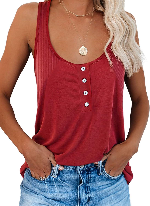 HOTAPEI Women's Button Down Tank Tops Summer Casual Basic Scoop Neck Sleeveless Shirts Blouse