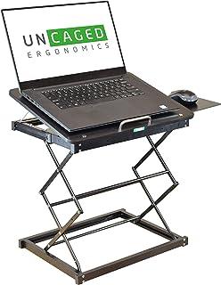 CD4 Portable Laptop Standing Desk Converter & Adjustable Laptop Desk Stand. Ergonomic sit Stand up Desktop Riser Topper Sm...