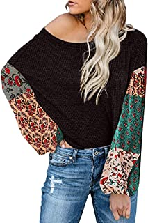 Holzkary Womens Off Shoulder Sweatshirt Slouchy Floral Print Shirts Thin Long Puff Sleeve Pullover Tops