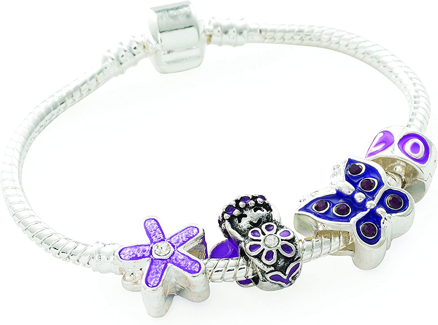 Liberty Charms 'Purple Fairy' Silver Bracelet. Max 77% OFF shipfree Plated Gift Charm