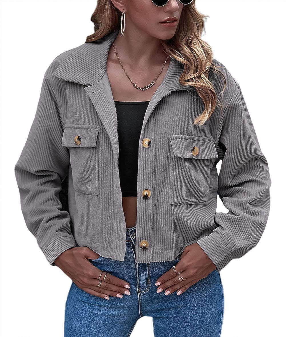 chouyatou Women's Light Retro Button Up Short Corduroy Shirt Jacket Chic Shacket