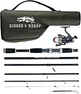 Rigged & Ready World Traveller, Travel Rod Combination. 6 Piece, 205cm, 6.7ft, high Performance, Powerful, Nano Carbon Rod with Unbreakable tip, Travelling Fishing Rod, 5 Bearing Reel and case