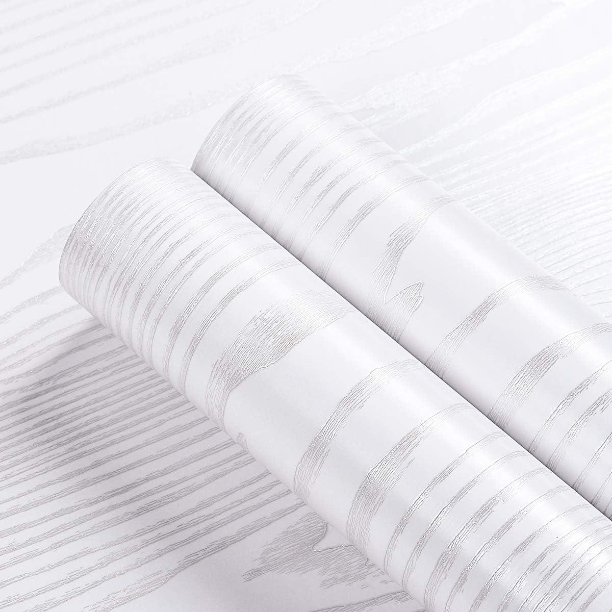 Livelynine 40CMX5M Papel Adhesivo Para Muebles Madera Blanco Vinilo Cocina Muebles Blanco Vinilos Para Puertas de Madera Interior Papel Vinilo Adhesivo Para Encimera de Cocina Blanco Autoadhesivo