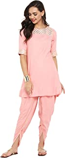 Janasya Women's Pink Rayon Short Kurta With Dhoti
