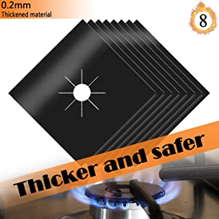 FADAZAI Gas Stove Burner Covers Gas Range Protectors 8 Pack Reusable Non-Stick Dishwasher Safe Easy Cleaning FDA Approved 10.6