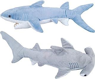 Bedwina Stuffed Animal Sharks - Pack of 2 Large, 14 inch Mako & 13 inch Hammerhead Plush Shark Toys, Stuff Animals Toy Be ...
