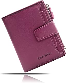 Women's Leather Card Purse, RFID Blocking Wallet, Small Compact Bifold Zipper Pocket Wallet with ID Window
