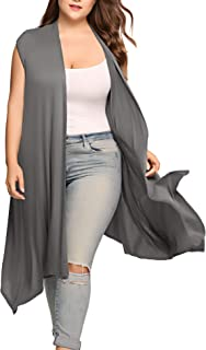 Involand Women's Plus Size Long Sleeve Draped Open Front Solid Cardigan Sweater