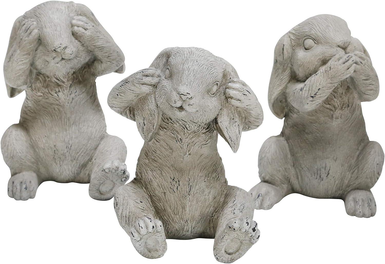 Sagebrook Home 15010 Polyresin 引出物 No Hear Bunnies Speak See Gray おトク