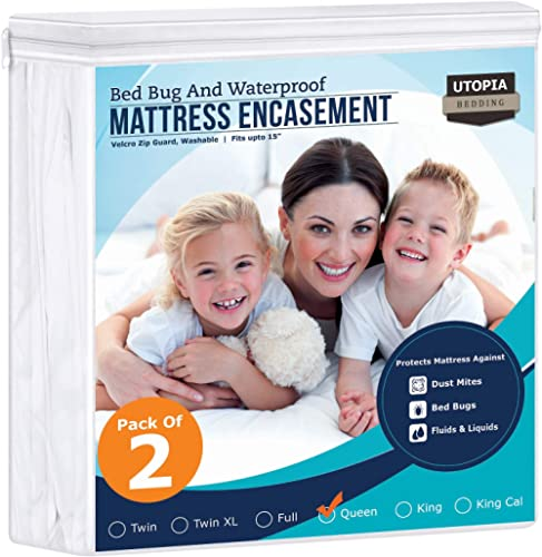 Utopia Bedding Zippered Mattress Encasement - Bed Bug Proof (Pack of 2, Queen)