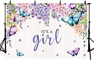 MEHOFOTO It's A Girl Butterfly Baby Shower Party Photo Studio Booth Backgrounds Purple Floral Fairy Princess Baby Shower Spring Garden Party Photography Backdrop Banner 7x5ft