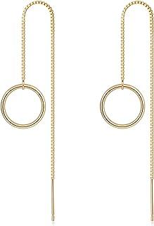Evil Eye Earrings Dainty Huggie Hoop Earrings Threader Earrings For Women 14k Gold Double Hoop Earrings Crescent Moon Hoop Earrings Minimal Jewelry
