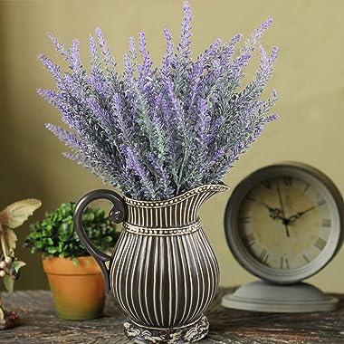 GTIDEA 4pcs Artificial Flowers Flocked Plastic Lavender Bundle Fake Plants Wedding Bridle Bouquet Indoor Outdoor Home Kitchen