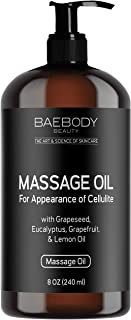 Baebody Massage Oil - Fight the Appearance of Cellulite - with Grapeseed Oil, Eucalyptus Oil, Lemon Oil, and Grapefruit Oi...