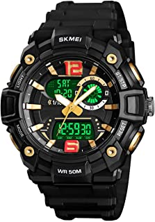 Men's Analog Digital Watch Multi Function Sports Outdoor Waterproof Military Wrist Watches Large Face LED Alarm Stopwatch