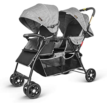 besrey Double Stroller Double Buggy Foldable Pram for Babies Comfort Trip, Gray