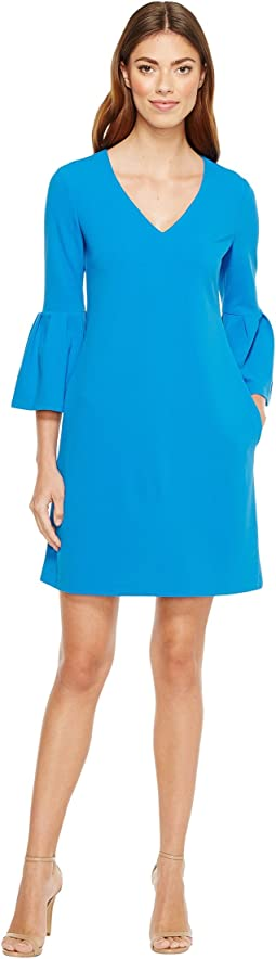 3/4 Bell Sleeve Crepe Shift with V-Neck