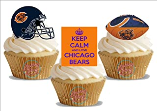 American Football Chicago Bears Trio Mix - Fun Novelty Birthday PREMIUM STAND UP Edible Wafer Card Cake Toppers Decoration