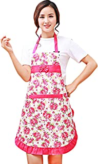no!no! Waterproof Printed Aprons with Floral Kitchen wear Oil Prevention Apron Shoulder Strap Style Women Restaurant Home Kitchen Apron (Rose)