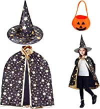 Kids Halloween Costumes Witch Wizard Cloack Cape with Pumpkin Handbag with Hat