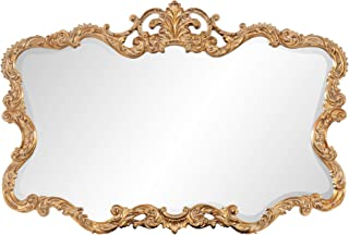 Howard Elliott Talida Mirror, Ornate Wall Focal Point, Resin Frame, Gold, 27 Inch x 38 Inch x 1 Inch