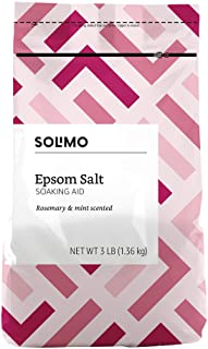 Amazon Brand - Solimo Epsom Salt Soaking Aid, Rosemary Mint Scent, 3 Pound