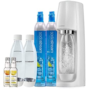 SodaStream Fizzi Sparkling Water Maker Bundle (White), with CO2, BPA free Bottles, and 0 Calorie Fruit Drops Flavors