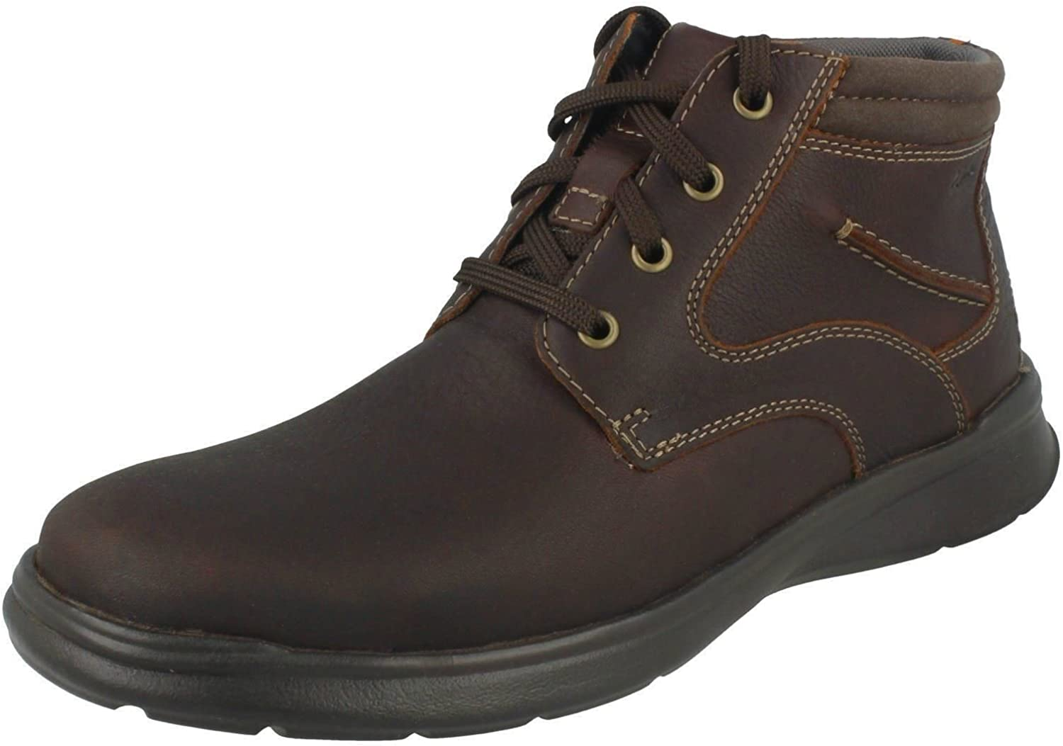 Clarks Mens Casual Lace Up Ankle Boots Cotrell Rise - Brown Leather - UK Size 9H - EU Size 43 - US Size 10W